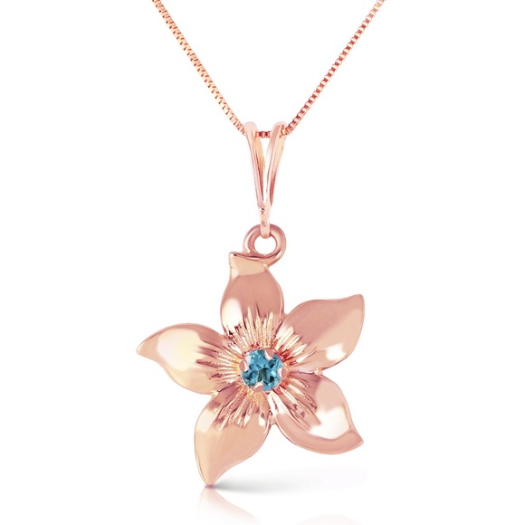 Galaxy Gold Products Jewelry - 14K. GOLD FLOWER NECKLACE WITH NATURAL BLUE TOPAZ